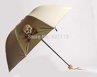 2014 Newest Three-Folding Creative Sunny and Rainy Women's Umbrella Skull Sunny UV Princess Umbrellas Rain Gear Freeshipping