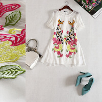 Free shipping! 2014 new summer women's  embroidery patch round neck short sleeve silk two-piece dress B184173