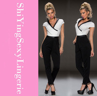 Fashion Short Sleeve Rompers Womens Jumpsuit 2014 Black White Individual V-neck Sexy Jumpsuits Women LC6451 Free Shipping