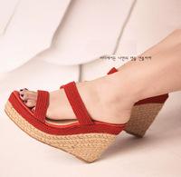 11cm heel height  Women's wedage  sandals  decorative open-toed high-heeled sandals women  J14627