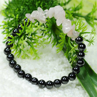 New arrival 6mm Magnetic round beads with Natural Rose Quartz chip bracelet semi precious stone bracelet Free Shipping