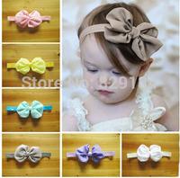 Baby Chiffon Hair Bows With Shining Elastic Hair Band Headbands Hair Accessory 50 pieces/lot CN-14062734