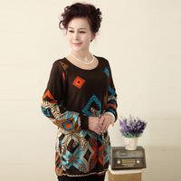 New 2014 Print O-Neck Full Sleeve Old Women Summer T-Shirt Free Shipping XL XXL XXXL XXXXL XXXXXL