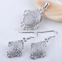 A1140 Free Shipping 925 Sterling Silver micro pave Zircon Jewelry Set for Women Wedding Jewelry Drop Earrings& Pendant Set