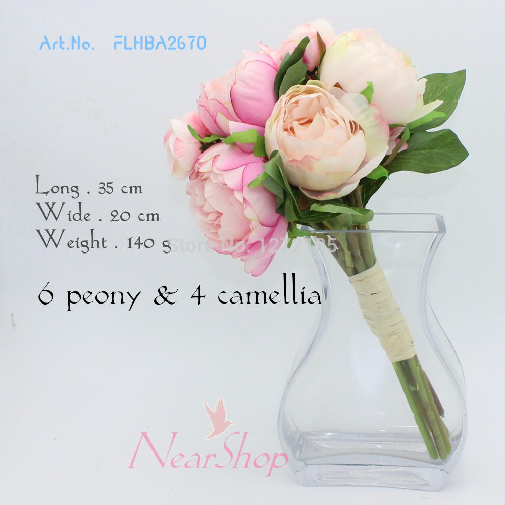Peonia 6& 4 camelia seta/simulazione/fiore artificiale. Fiori decorativi. Fiore di cerimonia nuziale/bouquet da sposa. Spedizione gratuita