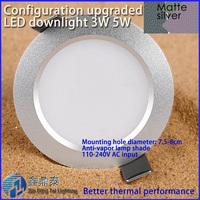 Recessed led downlight 3W 5W anti-Vapor LED Spot light ceiling lamp AC 110V 220V