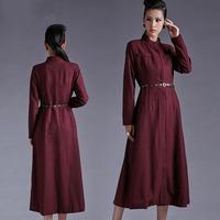 Spring autumn  woman's ruffles collar maxi coat x-long thin woolen outwear  trench coat