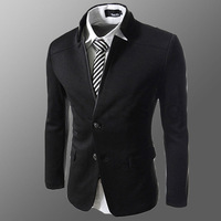 Hot ! Chic Black 2014 Fashion High-Grade Men's Cultivate One's Morality Leisure Suit Business Blazer Jacket Plus Size XL XXL