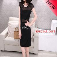 Summer Women 2014 New  Sexy Net Yarn Stitching Milk Silk Dresses For Sale