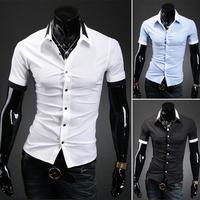 New Fashion men's short sleeve shirt camisa social masculina Fashion Turn-down Collar men dress shirts size M - XXL