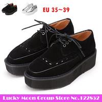 New fashion 2014 British style Harajuku punk lace-up shoes, square head silver black creepers platform shoes KM6-202-9