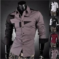 NEW Mens Fashion Cotton Designer Cross Line Slim Fit Dress man Shirts Tops Western Casual M-XXL