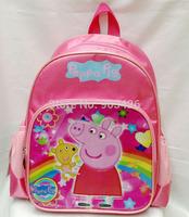Free Shipping Via DHL ! Lovely 2014 Fashion Peppa Pig Girls School Bag Rucksack Cartoon School Backpack G3692 Wholesale