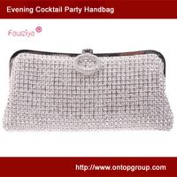 Ring clasp wedding party clutch handbag - prom bag - elegant silver clutch