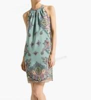 QZ1260 New Fashion Ladies' Elegant Pellis print off shoulder blue Dress sexy Sleeveless causal slim evening party brand design