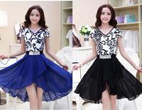New Women Summer Blue And White Porcelain Print Dress Slim Short Sleeve Party Dresses Desigual Vestidos Chiffon Casual Dress