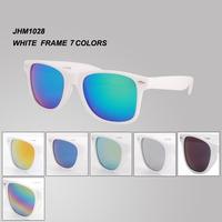 White frame mirror lens Oculos de sol Coating sunglass fashion sun glasses 7 colors free shipping   brand sunglasses  JHM1028