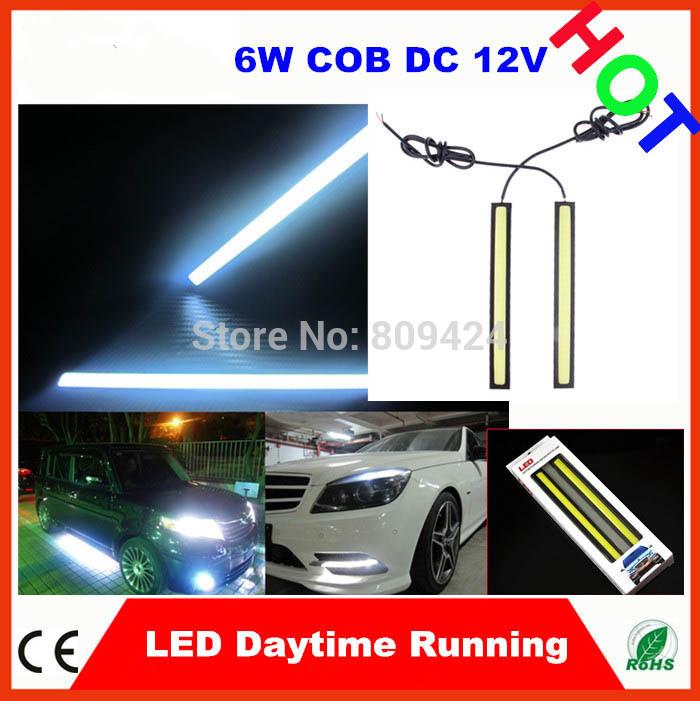 60pcs 17cm 6W COB Led Car LED Daytime Running Light d light bar Aluminum Alloy +Cob Led 12V Low Power Consumption(China (Mainland))