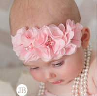 3 chiffon fabric flowers setting stone and pearl baby headbands 12 colors