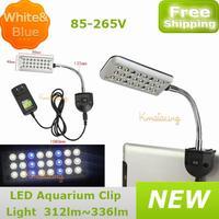 New LED Aquarium clip light 85-265V US Plug 24leds 1.5W 18pcs white and 6pcs blue color fish tank lamp free Drop shipping
