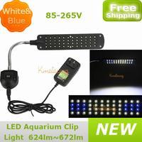 New LED reef Aquarium clip light 85-265V US Plug 48leds 1.5W 36pcs white and 12pcs blue color fish tank lamp free Drop shipping