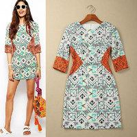 New Fashion Original Brand Quality Women Butterfly Print Tunic Dress Casual Dresses VC4052 Plus Size Wholesale