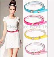 New 2014Fashion band many style adjustable multi-color 2 hearts shaped diamond decoration narrow belt for women Free shipping
