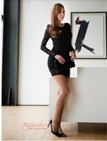 2014 New Fashion Summer Long Sleeve Bodycon Sexy pencil club vintage elegant desigual Evening party Mini black lace Dress