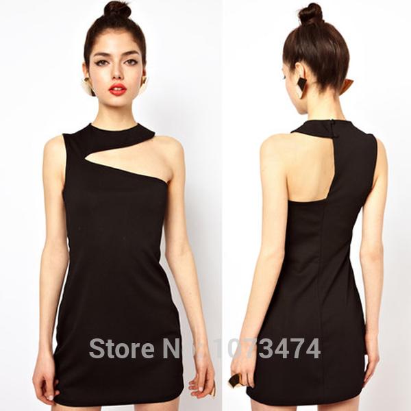 Asymmetry Shoulder Skinny Black Dress Plus Size Sleeveless O Neck Mini Clubbing Clothing Discount Wholesale Hot Selling Clothing(China (Mainland))