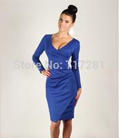 Hot Sale! New 2014 fashion European style deep V Slim long-sleeved dress Free shipping       q4503