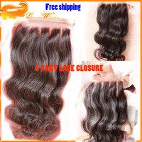 "2014 Top Fashion Wavy Lace Closure Sale New Top Grade 6a+ hair 4 Part Way Peruvian lace closure 4""x4"" Natural Color Density 120%"