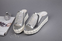 Free shipping! 2014 European women's Soled sandals leather crystal sandals muffin shoes