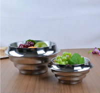 Home bar restaurant kitchen ware stainless steeel double walls salad bowl fruit bowl kitchen bowl-2pcs/set