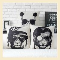 Black and White Retro Linen cotton pillow cases Creative sofa Animal cushions cover car office nap cushion 45*45cm B6429 C.C