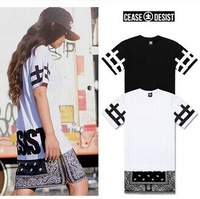 New Hot Top Cease Desist side Zipper Lengthen Bandana Tshirt Men Women Short-sleeve T-shirt Fashion Trend Dress Short Tee 2014