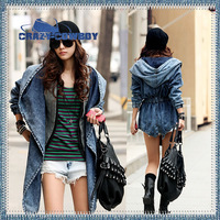 2014 New High Quality Fashion Women's Hoodie Vintage Washed Denim Coat Hooded Adjustable Waist Outerwear Jeans Jacket