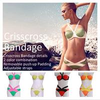 Sexy Contrast Color Bandage Swimsuit New 2014 Brand Bikinis Set Push Up Vintage Swimwear Women Pad Inside Gather Beach Bikini