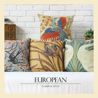 Pastoral Retro Linen Cotton Pillow Cases Home Decoration Sofa Bird Cushions Cover Car Office Nap Cushion 45*45cm B6433 C.C