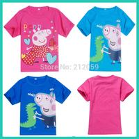 New 2014 Arrival Peppa Pig T-shirt Tops White Pink Blue Children T shirt Girls Clothes Boy Tees 100% Cotton