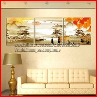 Framed 3 Tableau Peinture Large Chinese Landscape Painting Canvas Art Gold Wall Picture Home Decor Quadros De Parede XD02295