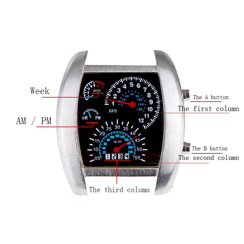 LONGSTAR Cool Car Meter Dial Blue Flash Dot Matrix LED Racing Watch Unisex Brown(China (Mainland))