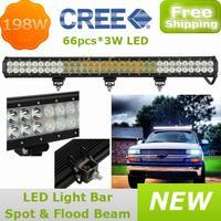 "Truck off-road 66X3W car 4x4AWD 4WD 12V/24V Cree led Work light 198W 30"" Camper Wagon Spot Flood Beam Combo LED Driving lamp"