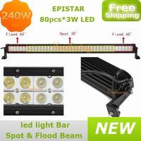 """Epistar LED Driving Light ATV 12V/24V car offroad 240W 4x4AWD Flood Spot Beam combo 80x3W 41.5"""" Truck 12V/24V 4WD led Work Light"""