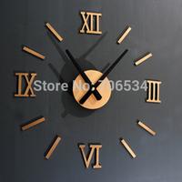 Metal Quality DIY Fun Wall Clock Roman Numeral Clock Gold Silver Colors Free Shipping
