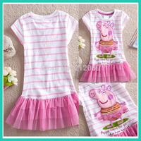New 2014 children peppa pig cotton tutu girl dress baby girls wear child summmer clothing girl chiffon dress white color age 2-6