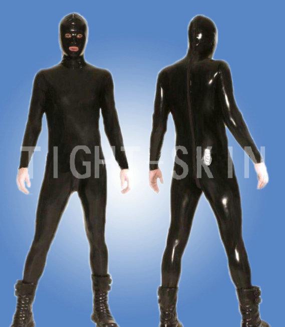 Hot selling man latex bodysuits w/hood male clubwear clothing set(China (Mainland))