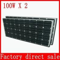200W 100W X 2PCS monocrystalline silicon Solar Panel Solar cells 125 x 125, 200 Watts Mono Solar Module 12V photovoltaics kits