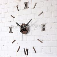 DIY Fun Wall Clock Roman Numeral Clock Retro Brown Free Shipping