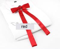 Women Girl Sailor School Pre-tied Satin Thin Bowtie Bow Neck Tie Red