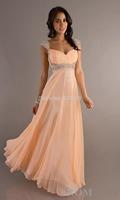 Lowest Price! Sweetheart  Chiffon Long Beaded Cap Sleeves Prom Dress 2014